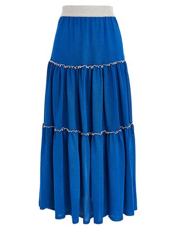 Женская юбка синего цвета из вискозы - фото 1