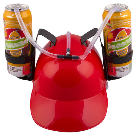 Каска с подставками под банки пива, Красная