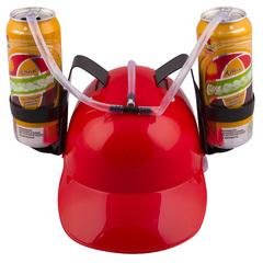 Каска с подставками под банки пива, Красная, фото 1