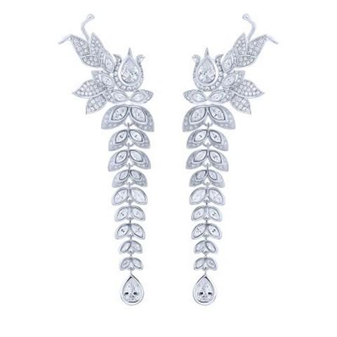 4777- Серьги- трансформеры LILY из серебра  с цирконами