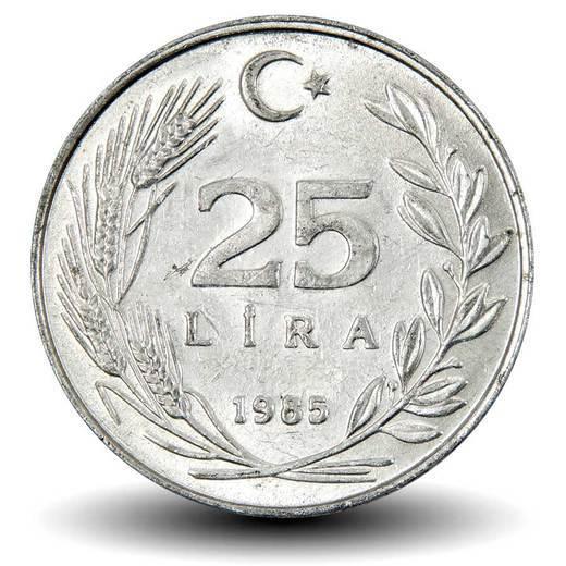 25 лир. Турция. 1985 год. UNC.