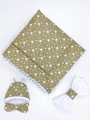 СуперМамкет. Конверт-одеяло с бантом и шапочкой Звезды, коричневый/белый плюш вид 3
