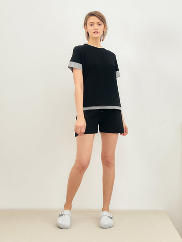 Женские шорты черного цвета из вискозы - фото 2