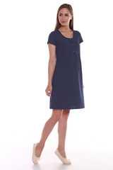 Мамаландия. Сорочка для беременных и кормящих с кнопками короткий рукав, темно-синий/горох вид 2