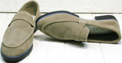 Женские туфли без каблука. Лоферы женские замшевые Osso 2668 Beige.