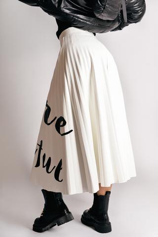 Кожаная юбка плиссе оптом