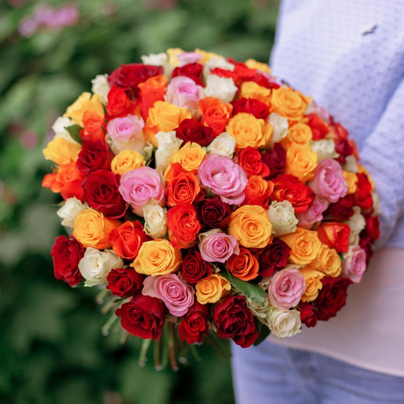 101 роза недорого купить в Перми яркий букет микс кения