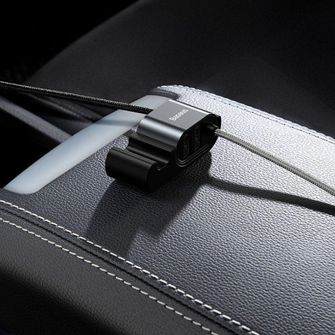 Кабель Baseus Special Data Cable for Backseat (USB to iP+Dual USB) Black