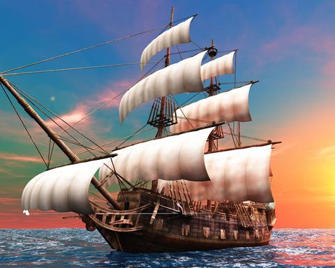 Алмазная Мозаика + Багет 40x50 Корабль на тихой воде