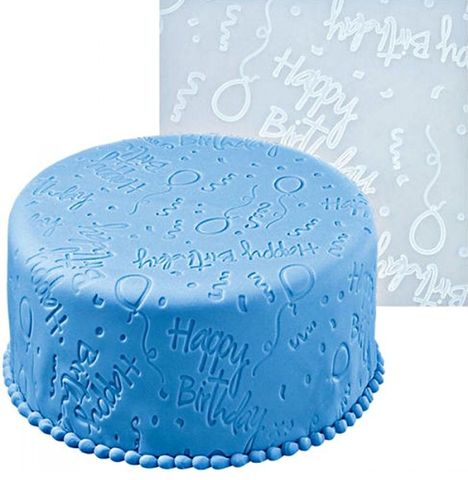 Коврик силиконовый текстурный 50x50см узор надпись HAPPY BIRTHDAY