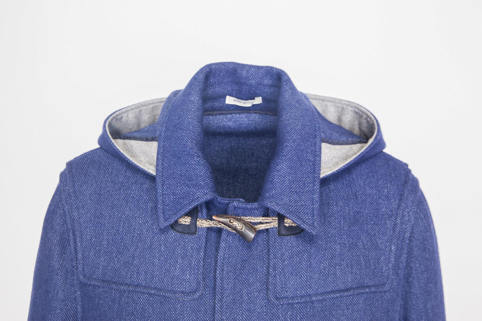 Повседневное синее шерстяное пальто, воротник