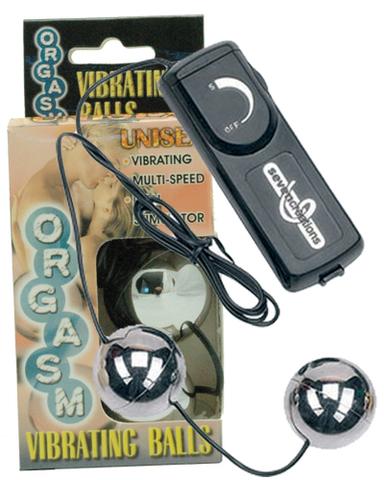 Серебристые вагинальные шарики с вибрацией ORGASM VIBRATING BALL - Seven Creations 7214S-J BX GP
