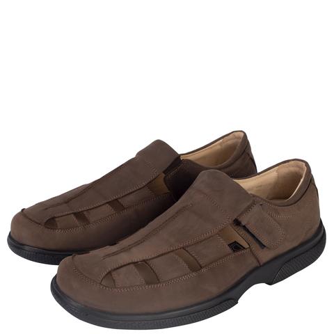529367 сандалии мужские коричневые нубук. КупиРазмер — обувь больших размеров марки Делфино