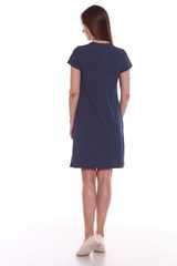 Мамаландия. Сорочка для беременных и кормящих с кнопками короткий рукав, темно-синий/горох вид 4