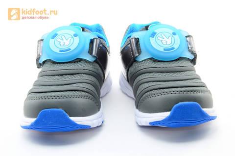 Светящиеся кроссовки для мальчиков Фиксики на липучках, цвет темно серый, мигает пряжка на липучке. Изображение 5 из 16.
