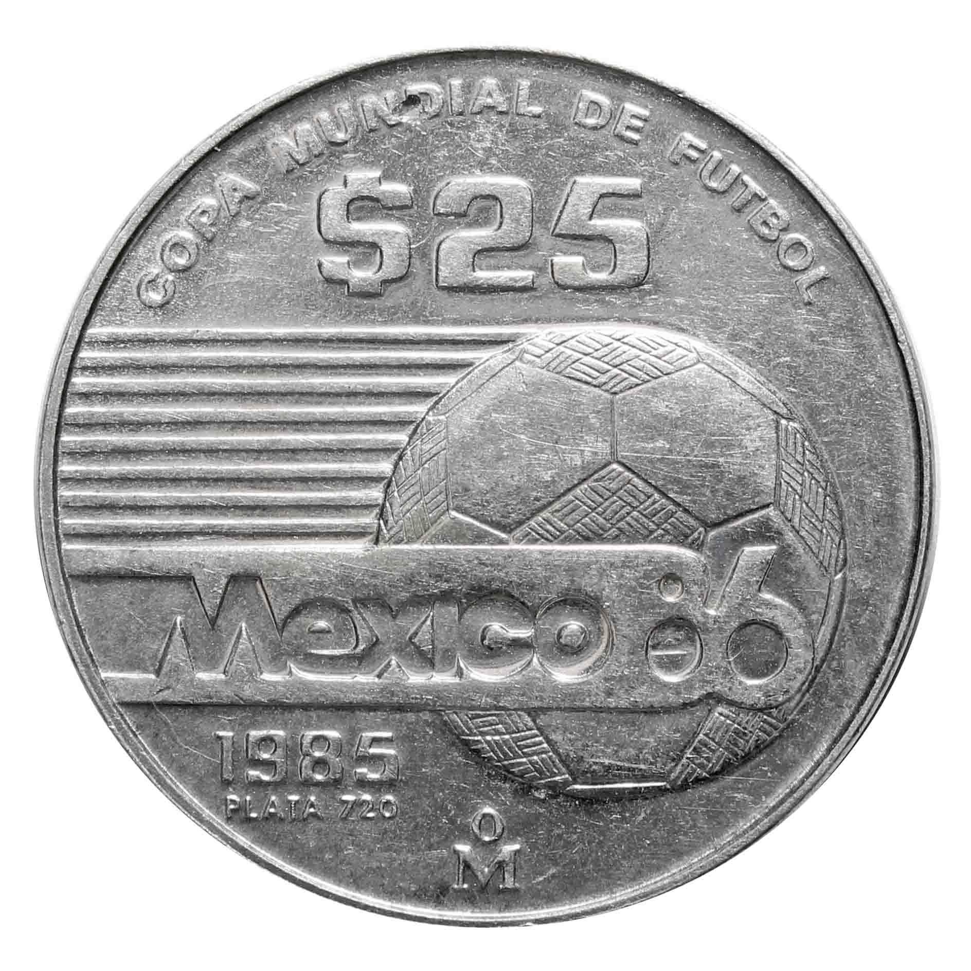 25 песо. Чемпионат мира по футболу 1986. Мексика. 1985 год. Серебро. XF