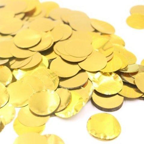 Конфетти Круги фольг золото 2см 300гр