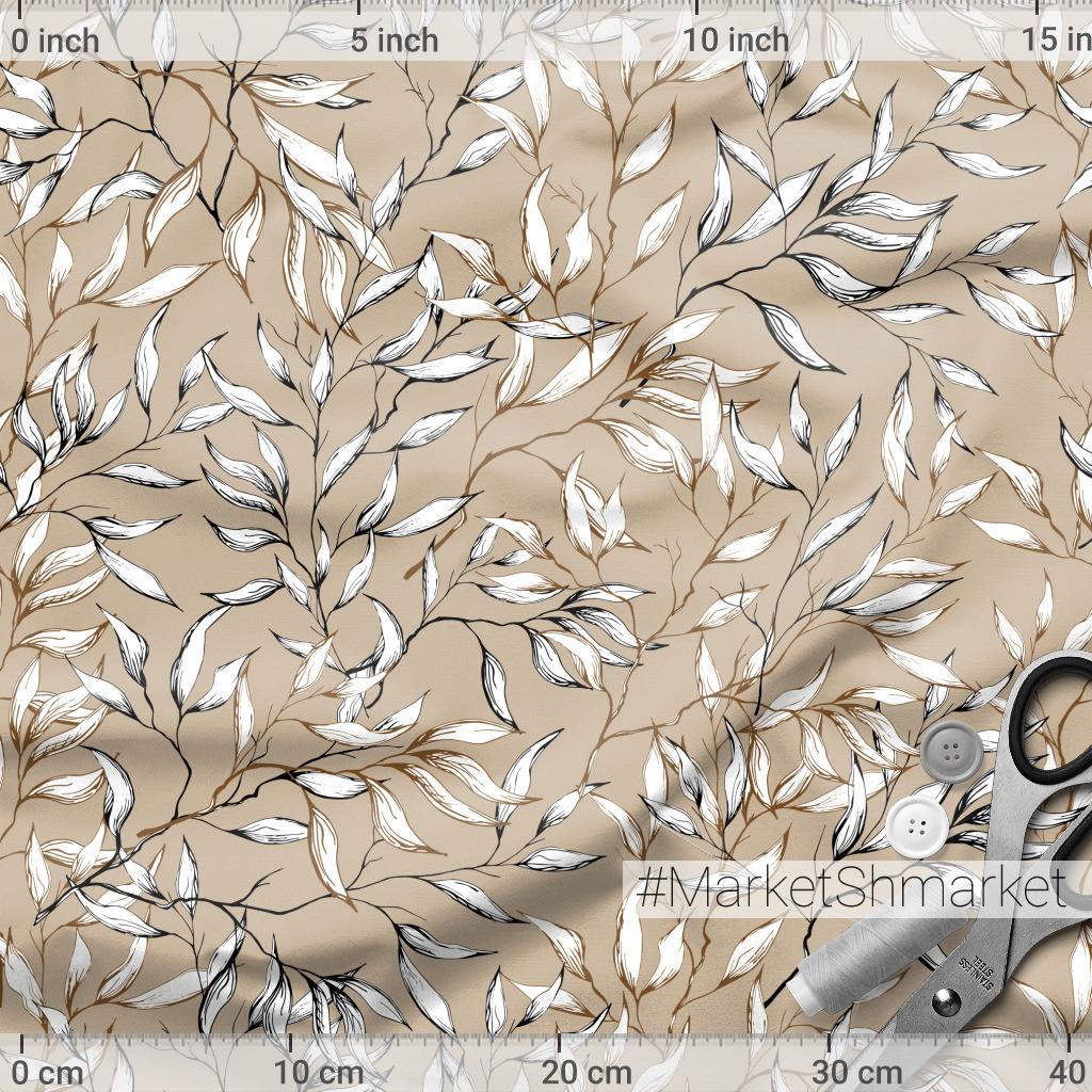 Винтажный узор из нарисованных листьев