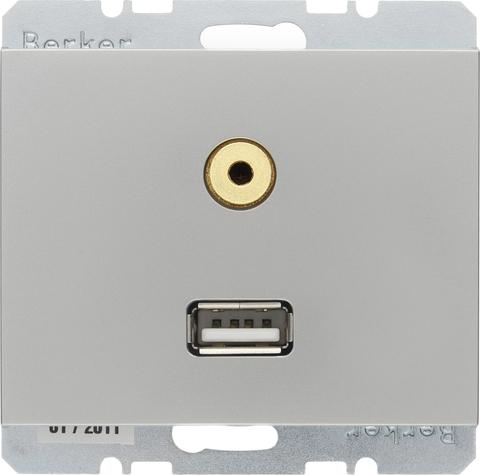 Розетка USB/3.5mm AUDIO. Цвет Нержавеющая сталь. Berker (Беркер). K.5. 3315397004. Цвет Нержавеющая сталь. Berker (Беркер). K.5. 3315397004
