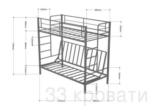 Двухъярусная кровать диван Дакар 2