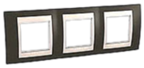 Рамка на 3 поста. Цвет Какао/Бежевый. Schneider electric Unica Хамелеон. MGU6.006.571
