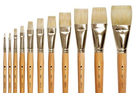 Кисть из щетины плоская, стандартная выставка, длинная ручка,