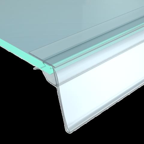 Ценникодержатель для крепления на стеклянные полки, длина 1250мм, прозрачный GLS-39