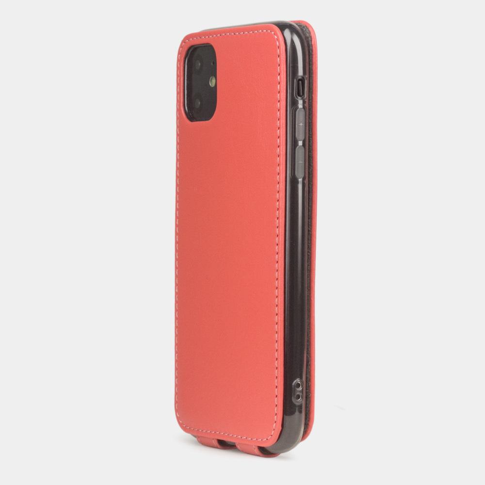 Чехол для iPhone 11 из натуральной кожи теленка, кораллового цвета