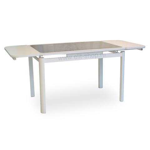 Стол РИАЛ 2 КОЖА Е-22 коричневый / стекло белое / подстолье белое / опора №7 белая / 120(180)х80см