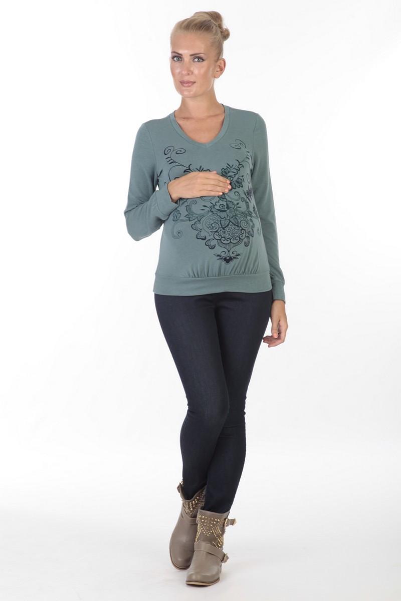 Джемпер для беременных 01817 зеленый