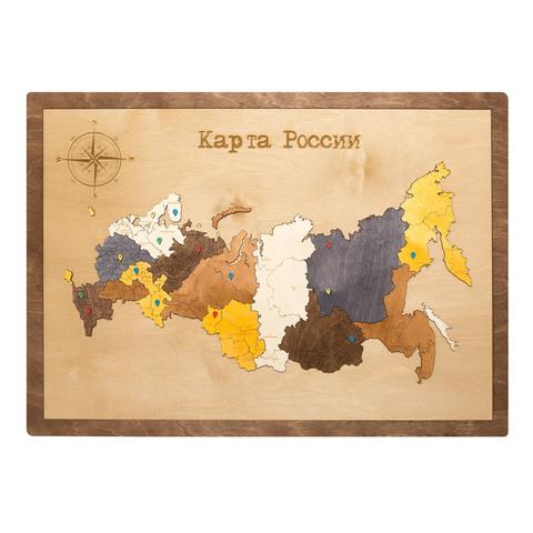 Карта России из дерева в прямоугольной рамке фото 1