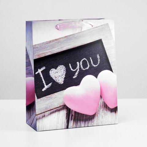 Подарочный пакет  I love you  - 32 х 26 см.