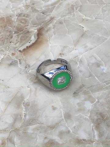 Кольцо Сайн зеленое, серебро