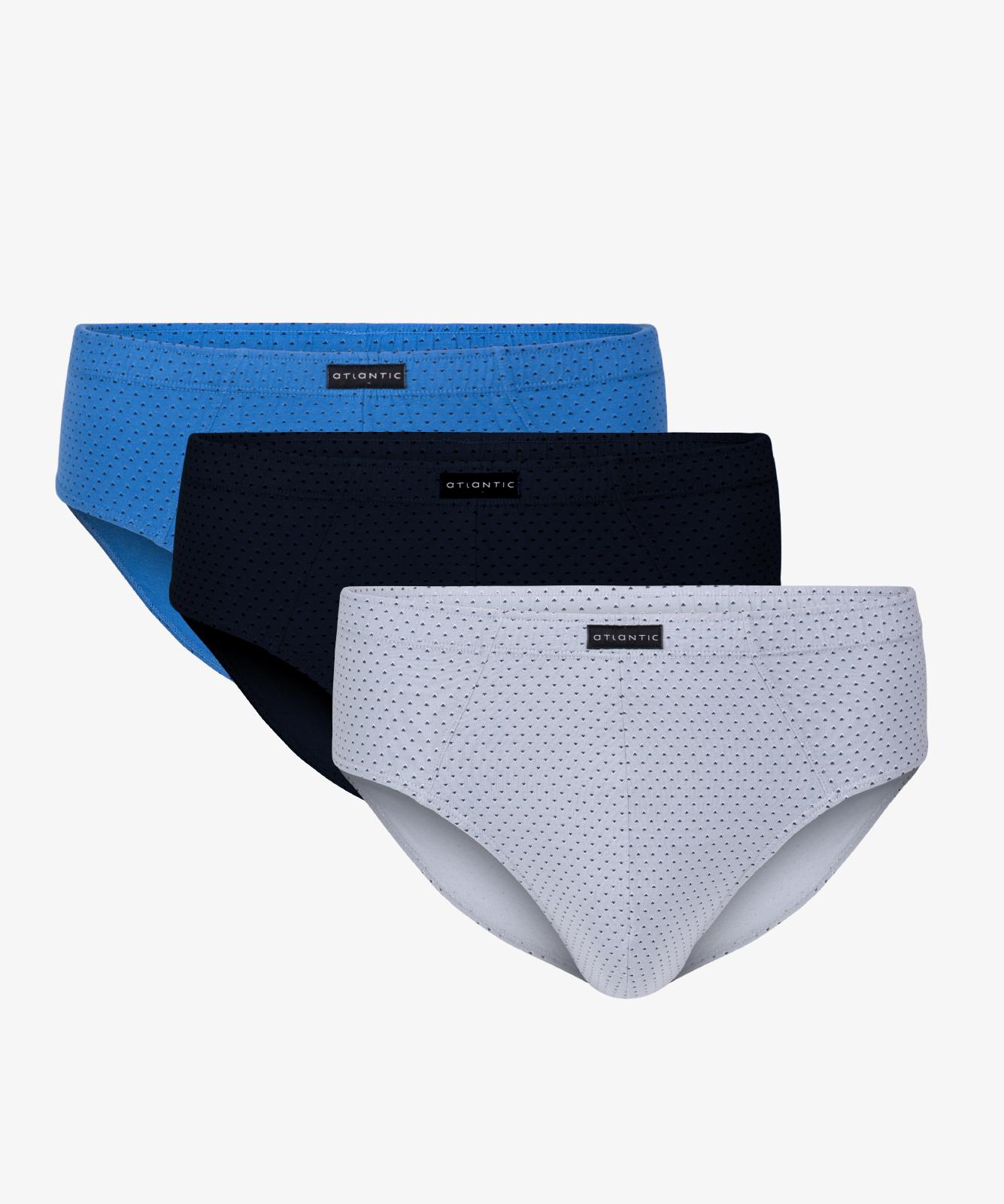 Мужские трусы слипы классика Atlantic, набор 3 шт., хлопок, голубые + темно-синие + серые, 3MP-091