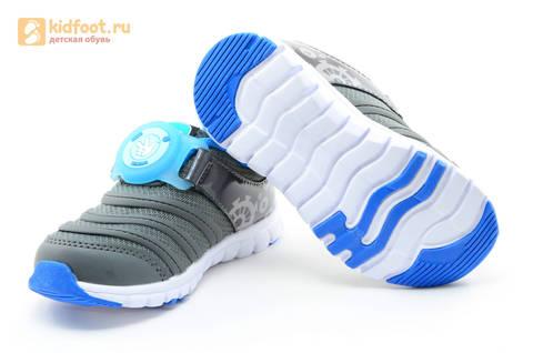 Светящиеся кроссовки для мальчиков Фиксики на липучках, цвет темно серый, мигает пряжка на липучке. Изображение 9 из 16.