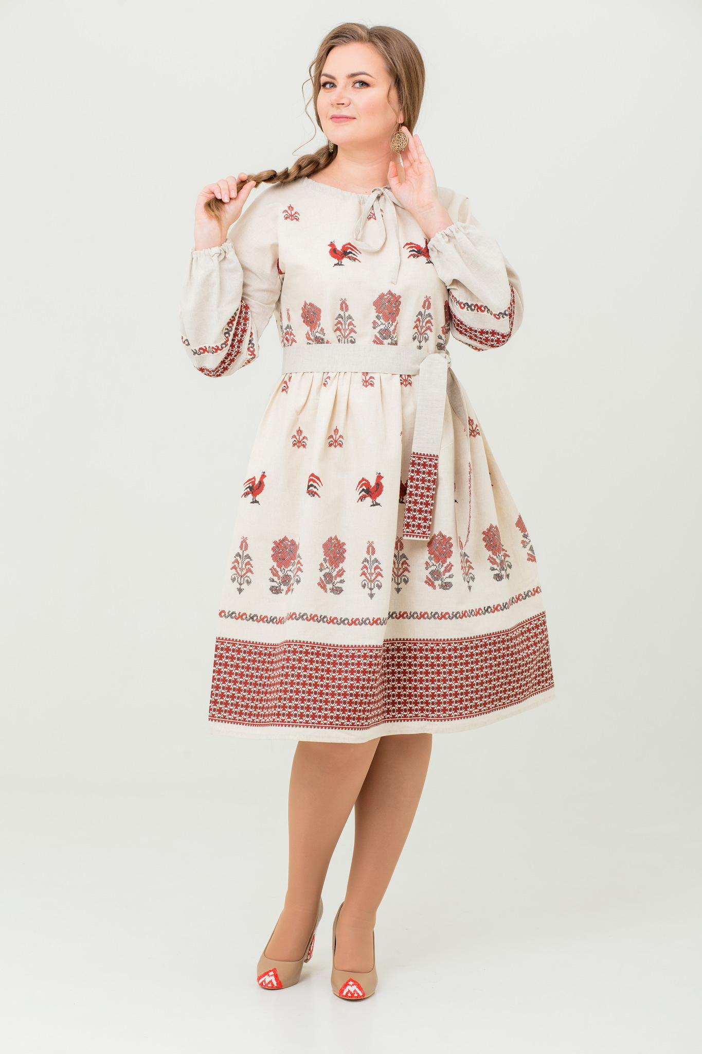 Платье льняное Вестник зари в русском стиле