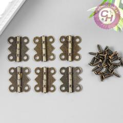 Петли для шкатулок фигурные, металлические, 6 шт, 1,5*2,1 см.