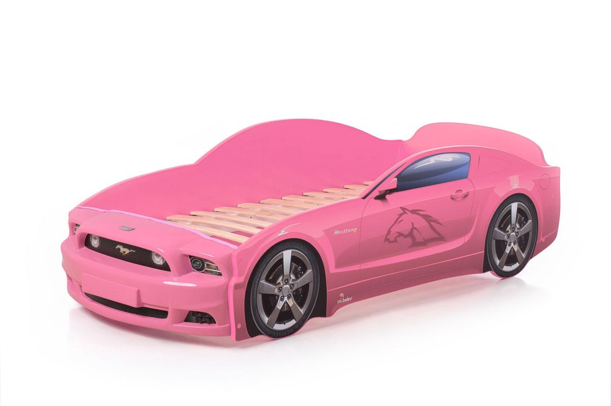 """Кровать-машина """"Мустанг"""" PLUS розовый"""