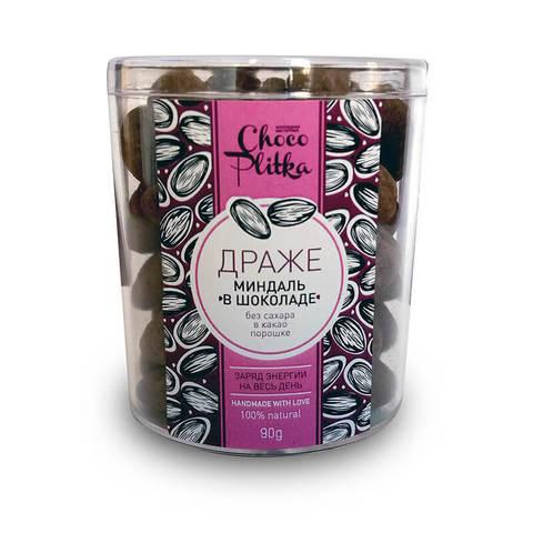 Chocoplitka, Миндаль в шоколаде без сахара в какао порошке, 90гр