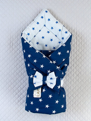 Конверт одеяло двустороннее Звёзды (белый/темно синий)