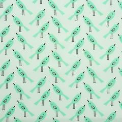 Ткань хлопковая птички мятные