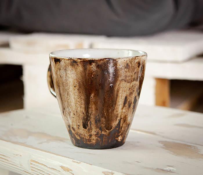CUP106 Красивая кружка из глины для чая и кофе ручной работы (180 мл) фото 03