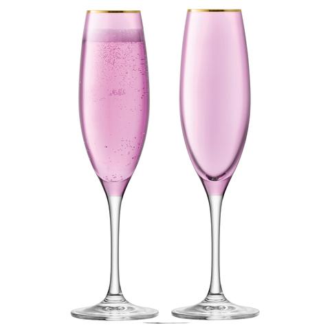 Набор из 2 бокалов-флейт для шампанского Sorbet, 225 мл, розовый