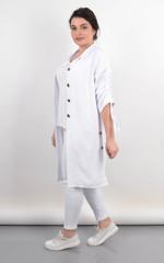 Челси. Кардиган-рубашка на лето женский plus size. Белый.