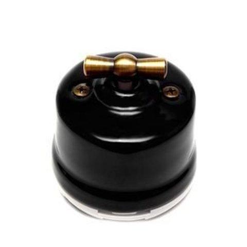 Выключатель двухклавишный, для наружного монтажа. Цвет Чёрный. Salvador. OP21BL