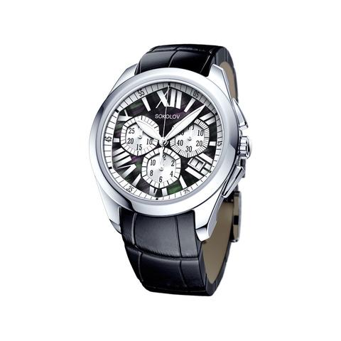 148.30.00.000.08.01.2- Женские серебряные часы  SOKOLOV с хронографом