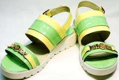 Кожаные сандали женские модные Crisma 784 Yellow Green.