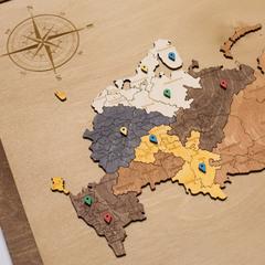 Карта России из дерева в прямоугольной рамке фото 3