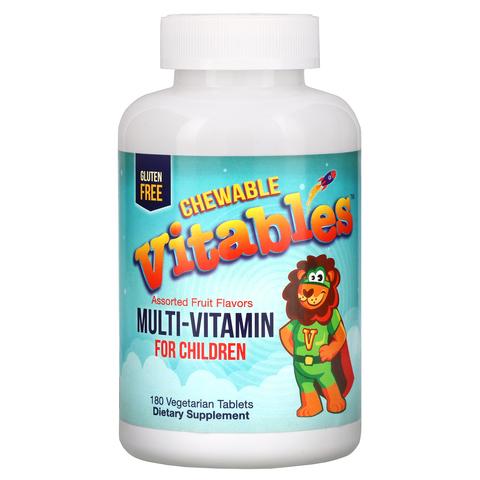 Жевательные мультивитамины с пробиотиками и ферментами для детей, фруктовое ассорти, 60 вегетарианских таблеток Vitables