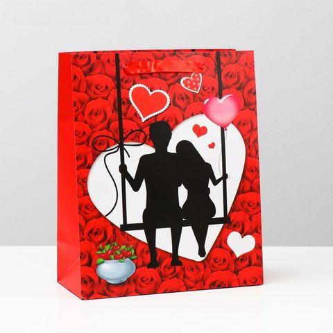 Подарочный пакет  Романтичная пара  - 32 х 26 см.